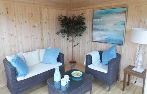 Interior of Burford's 3.0 x 3.0m Weybourne Summerhouse painted in Farrow & Ball Pointing