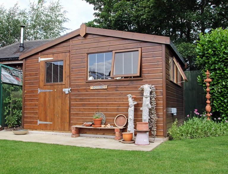 3.6 x 3.0m Superior Shed in Sikkens Walnut transformed into a Pottery Shed