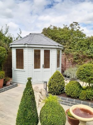 2.4 x 3.0m fully lined and insulated Wiveton Summerhouse painted in Exterior Verdigris