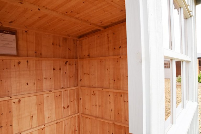Interior of Narford's 1.8 x 2.4m Oxburgh Shed
