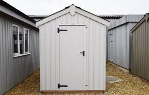 Narford's 1.8 x 3.0m National Trust Peckover Shed painted in Earls Grey