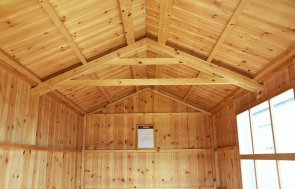 Inside Narford's 1.8 x 3.0m National Trust Peckover Shed painted in Earls Grey