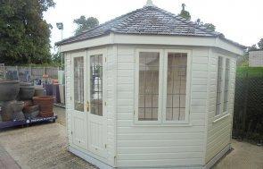 Newbury's 3.6 x 3.6m Wiveton Summerhouse painted in Farrow & Ball French Gray