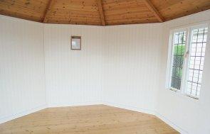 Inside Newbury's 3.6 x 3.6m Wiveton Summerhouse painted in Farrow & Ball French Gray