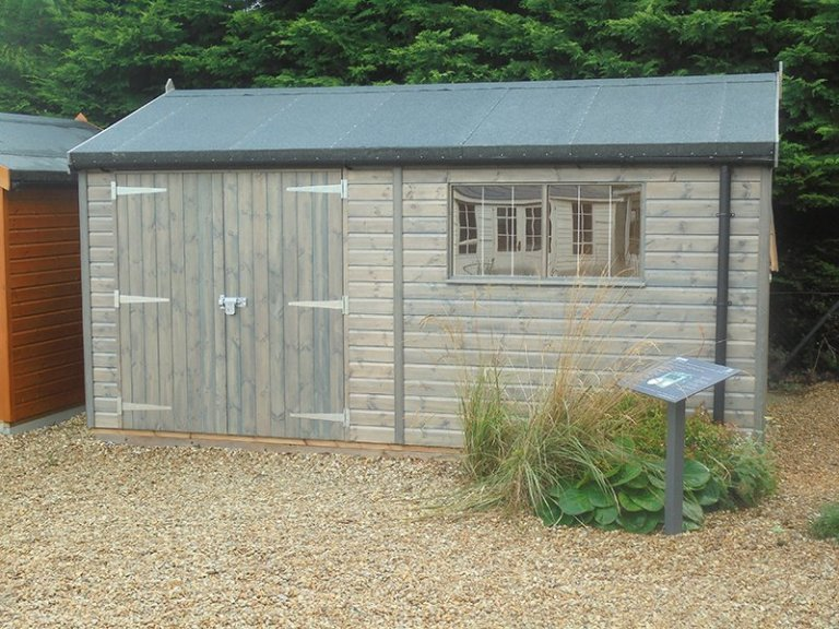3.0 x 4.8m Superior Shed at Newbury treated with a Grey Sikkens wood stain