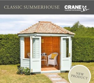Classic Summerhouse Flyer Cover featuring a Seagrass painted Classic Summerhouse