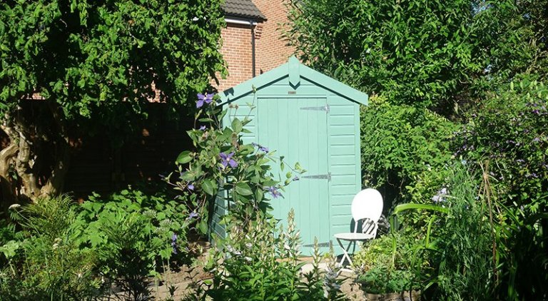 1.5 x 2.1m Apex Roof Design Classic Shed painted in Classic Mint