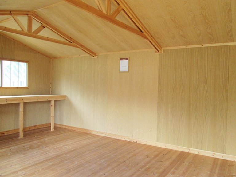 Inside the 3.6 x 5.4m Superior Shed at Sunningdale