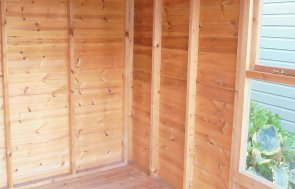 Interior of the 2.4 x 2.4m Blakeney Summerhouse at Newbury painted in Exterior Ash