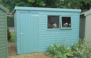 1.8 x 3.0m Classic Shed at Newbury painted in Classic Mint