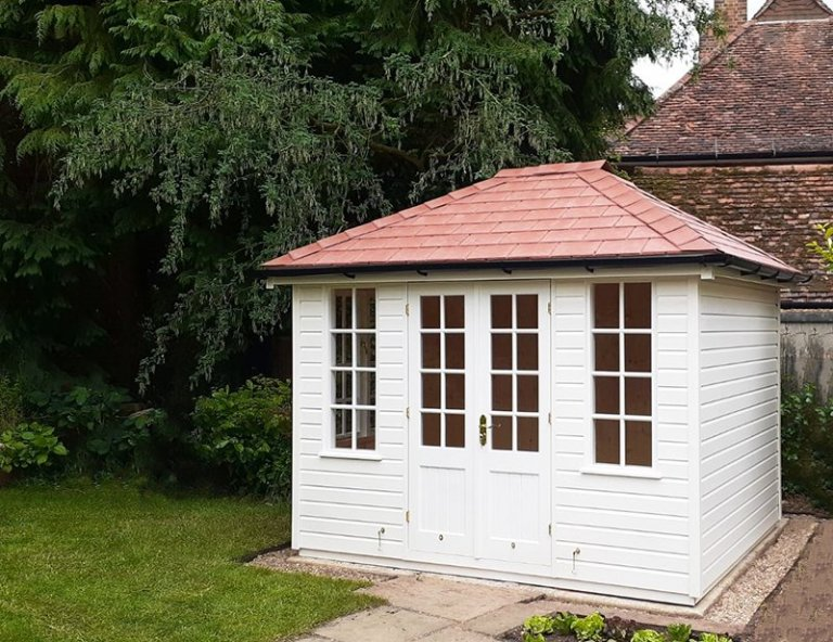 2.4 x 3.0m subtle two-toned Cley Summerhouse painted in Cream & Ivory
