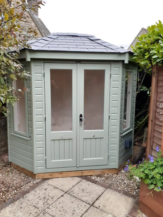 Quaint 1.8 x 2.5m Wiveton Summerhouse painted in Exterior Lizard