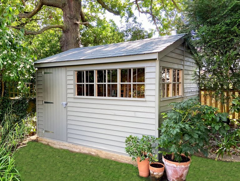 3.0 x 3.6m Superior Shed with Georgian windows painted in Exterior Ash