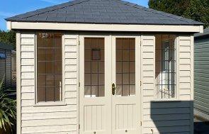 Nottingham's 2.4 x 3.0m Cley Summerhouse painted in Farrow & Ball Light Gray