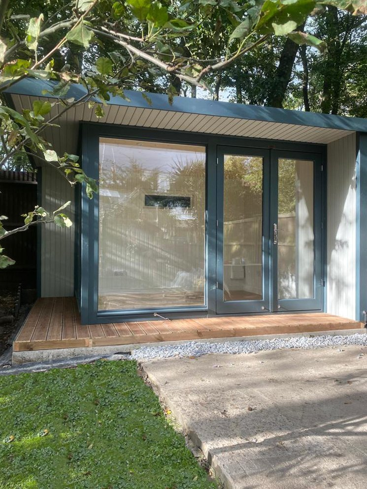 3.0 x 3.6m Holt Studio painted in Exterior Slate and Pebble with Ivory painted interior