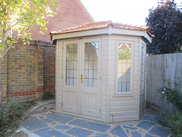 1.8 x 2.5m Farrow & Ball Painted Wiveton Summerhouse in the shade Mouse's Back