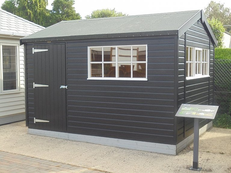 3.0 x 3.6m Superior Shed at Newbury painted in Black & Ivory
