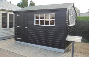 Newbury's 3.0 x 3.6m Superior Shed painted in Exterior Black & Ivory