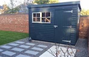 1.8 x 3.0m Exterior Slate and Pebble Superior Shed with Georgian Windows