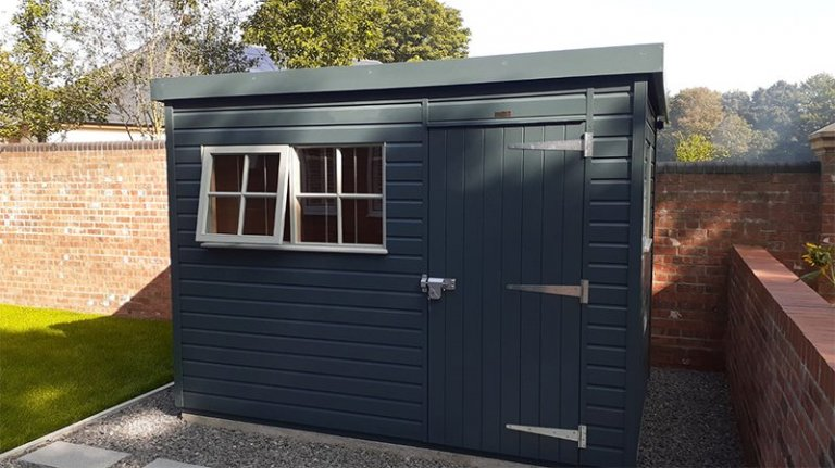 Pent Roof 1.8 x 3.0m Superior Shed Painted in Slate & Pebble