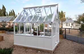 Burford's 2.4 x 3.0m Greenhouse painted in Exterior Ivory