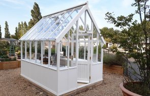 Burford's 2.4 x 3.0m Greenhouse with open door painted in Exterior Ivory