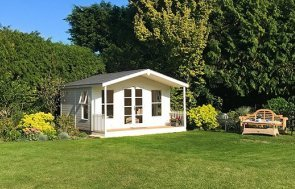 4.2 x 4.8m Lined and Insulated Morston Summerhouse painted in Exterior Pebble