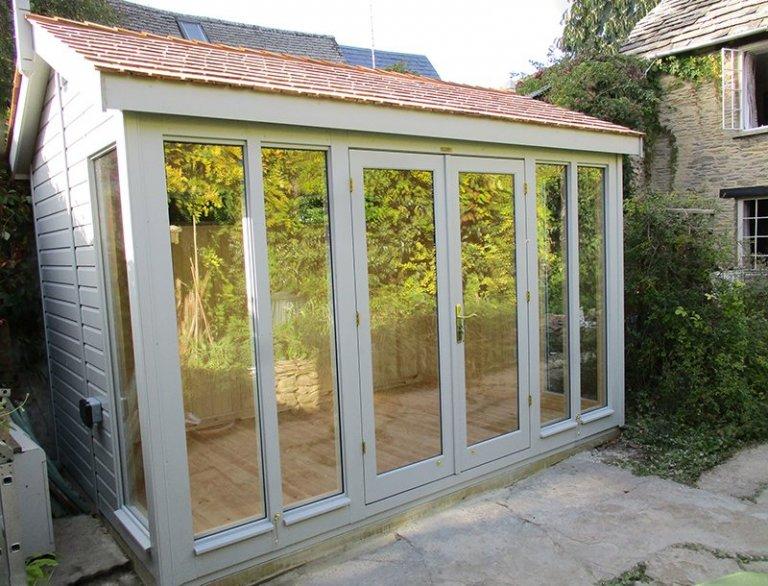 2.4 x 3.6m Burnham Studio painted in Exterior Pebble