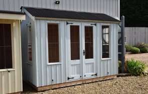 1.8 x 3.0m National Trust Lavenham Summerhouse at Narford HQ painted in Painters Grey