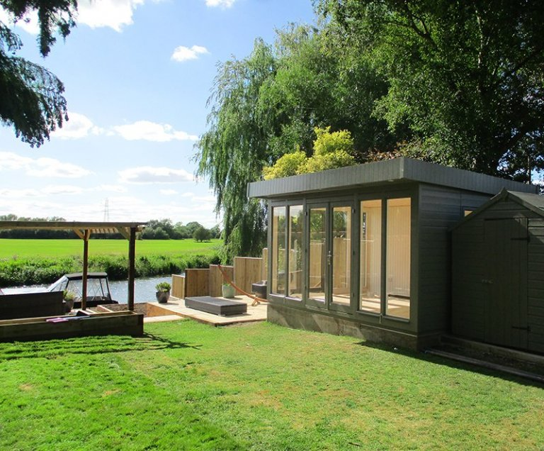 3.0 x 4.2m Salthouse Studio with two sets of double doors painted in Exterior Ash