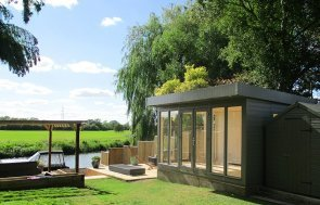 3.0 x 4.2m Salthouse Studio painted in Exterior Ash with two sets of double doors