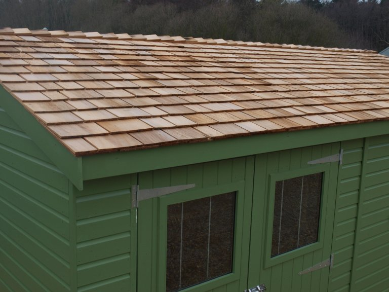 Superior shed with cedar singles on the apex roof