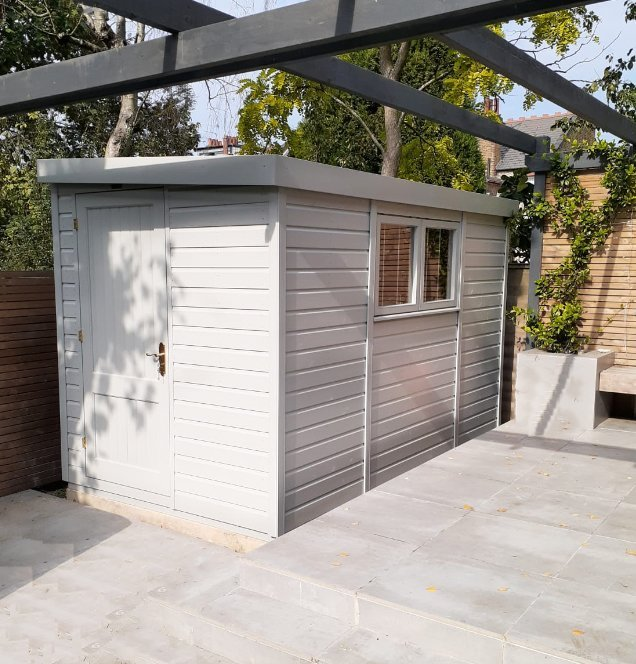 1.8 x 3.3m Superior Shed painted in Pebble