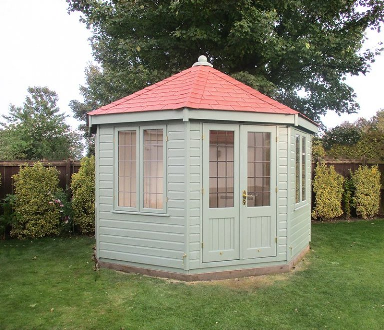 3.6 x 3.6m Sage Painted Wiveton Summerhouse with Red Slate Effect Tiles on the roof