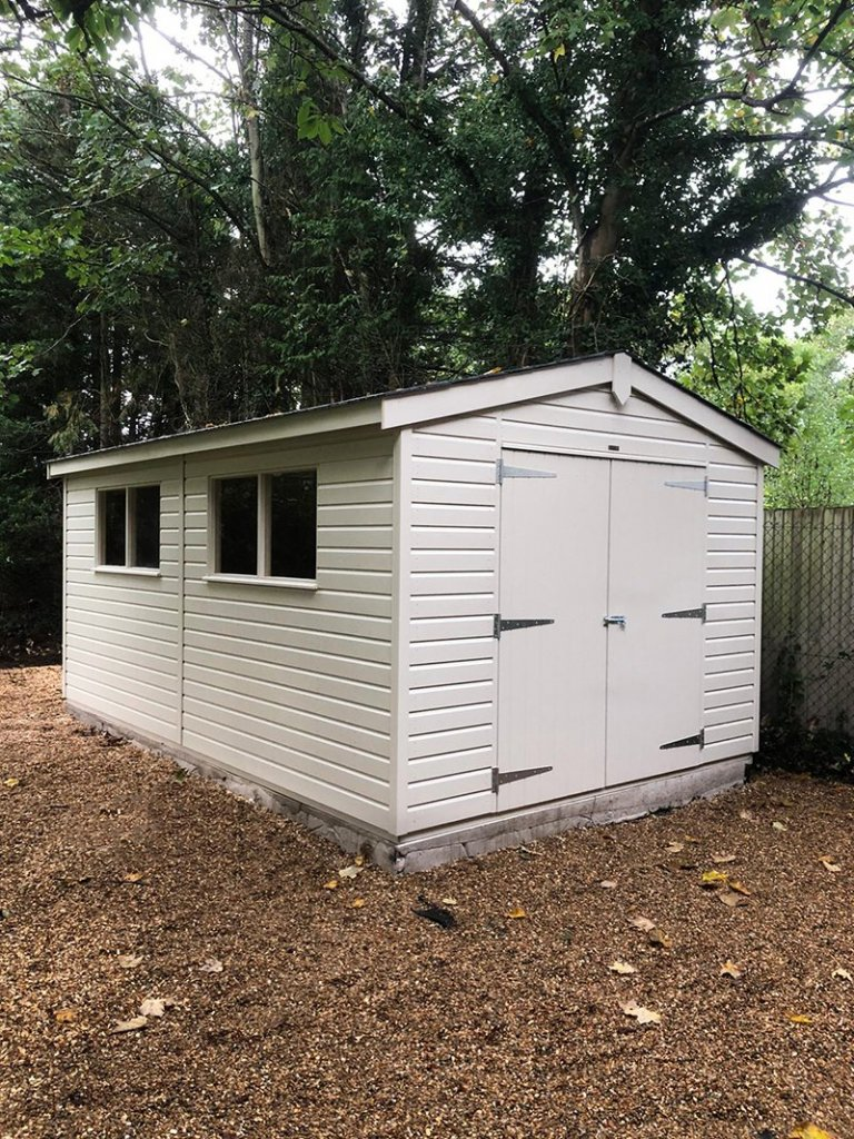 3.0 x 4.8m Farrow & Ball Superior Shed painted in Old White
