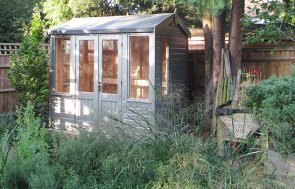 1.8 x 2.4m Ash Painted Holkham Summerhouse with workbench