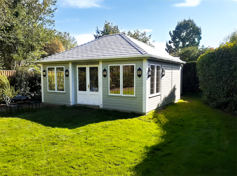 5.0 x 6.0m Garden Room painted in Farrow & Ball French Gray and Wimborne White with inset door and leaded windows