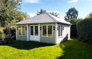 5.0 x 6.0m Garden Room painted in Farrow & Ball French Gray and Wimborne White