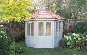 3.0 x 3.0m Lizard Painted Wiveton Summerhouse with Cedar Shingles on the roof