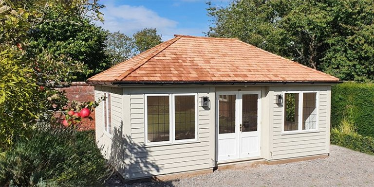 4.2 x 6.0m Weatherboard Clad Garden Room painted in Farrow & Ball Old White and Pointing