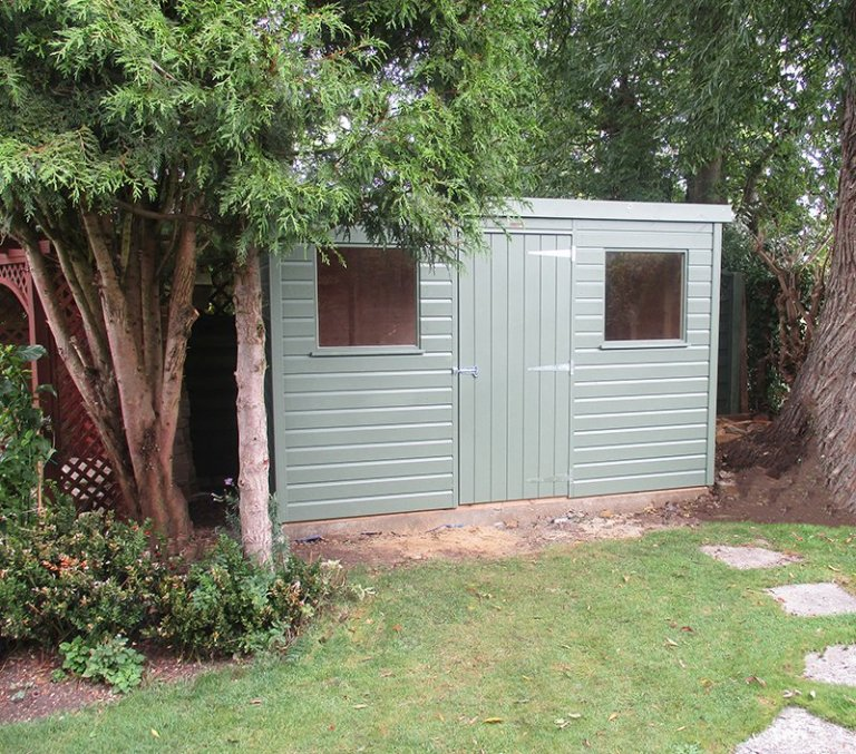 1.8 x 3.0m Pent Roof Classic Shed painted in Classic Moss