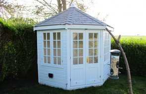 3.0 x 3.0m Wiveton Summerhouse with Georgian Windows painted in Exterior Saltwater