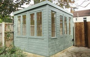 2.4 x 3.0m Pent Roof Holkham Summerhouse painted in Exterior Sage
