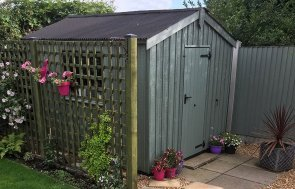 2.4 x 3.0m Apex Roof Peckover National Trust Shed painted in Terrace Green