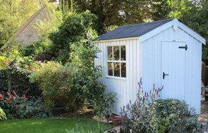 Peckover National Trust Shed measuring 1.8 x 2.4m painted in Painters Grey
