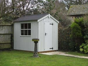 1.8 x 2.4m Apex Roof Peckover National Trust Shed painted in Disraeli Green