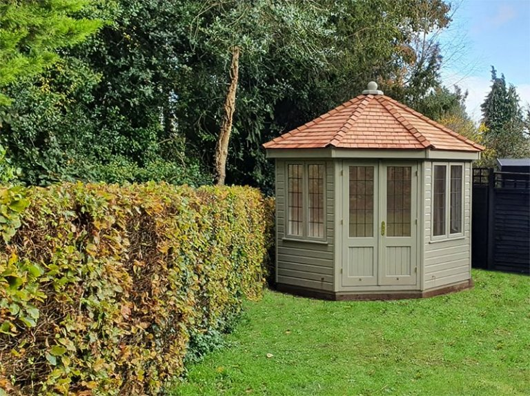 3.0 x 3.0m Wiveton Summerhouse painted in Farrow & Ball French Gray with cedar shingle roof tiles