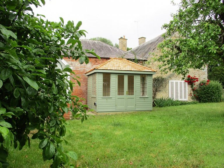 2.4 x 3.0m Cley Summerhouse in Exterior Lizard Paint with Cedar Shingle roof tiles