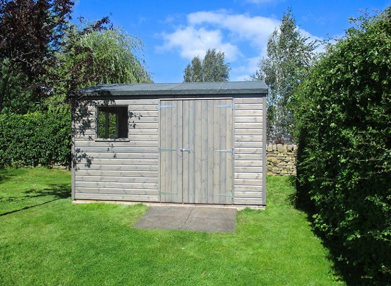 3.0 x 3.6m Sikkens Grey Superior Shed with Apex Roof