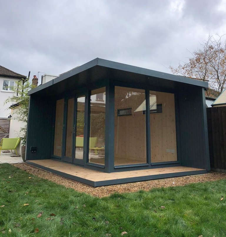 3.2 x 4.4m Holt Studio in Exterior Slate Paint with Natural Interior